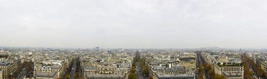 Paris city skyline. Panoramic view of Paris city skyline viewed from the Arc De Triomphe, France stock image