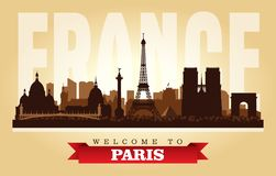 Paris France city skyline vector silhouette. Illustration stock illustration