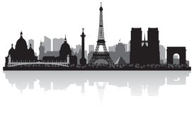 Paris France city skyline silhouette. Paris France city skyline vector silhouette illustration vector illustration