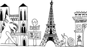 Hand-drawn Paris France cityscape black and white royalty free illustration