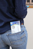 Paris, France. 05.16.2016. Close-up voew of a ticket for the EURO 2016 UEFA soccer or football tournament in the back pocket of a Stock Photography