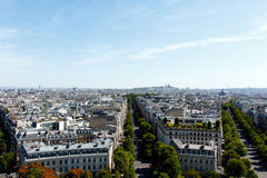 Paris, France. Color DSLR stock image of boulevards and neighborhood in Paris, France, as seen from top of Arc de Triomphe. Horizontal with copy space for text Royalty Free Stock Images