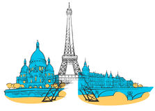 Paris France Colored Panorama royalty free illustration