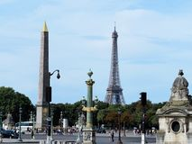 View over the Placede la Concorde to the Eiffel Tower royalty free stock images