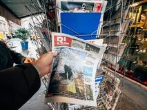 French newspaper kiosk selling royalty free stock images