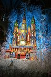 Nativity scene for Christmas holidays inside the Notre-Dame cathedral in Paris, France. Paris/France - December 8, 2015: Beautiful nativity scene inside royalty free stock images