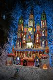 Nativity scene for Christmas holidays inside the Notre-Dame cathedral in Paris, France. Paris/France - December 8, 2015: Beautiful nativity scene inside stock images