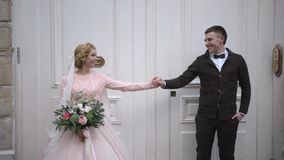 Paris. France December 2016 Beautiful wedding brides from Ukraine. A beautiful wedding couple walks around Paris. Slow. Motion HD stock video footage