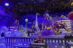 Christmas decorations in the shop window of a Parisian Printemps. PARIS, FRANCE - DECEMBER 12, 2017: Christmas decorations in the shop window of a Parisian Stock Photography