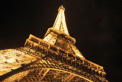 Eiffel Tower at night, view from the bottom Royalty Free Stock Images