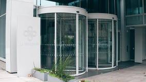 PARIS, FRANCE - DECEMBER, 31, 2016 Entrance to La Francaise Global Asset Management modern office building. 4K. Establishing video stock footage