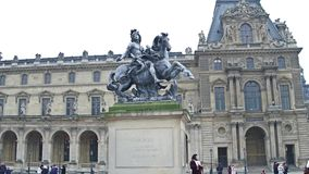 PARIS, FRANCE - DECEMBER, 1, 2017. Equestrian Statue of King Louis XIV in Louvre. Famous French museum and popular Stock Image