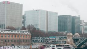 PARIS, FRANCE - DECEMBER, 31, 2016. Modern office buildings on a foggy day. Natixis, SNCF and RATP Group headquarters Royalty Free Stock Photo