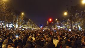 PARIS, FRANCE - DECEMBER, 31, 2016. Overhead shot of crowded Champs-Elysees street on New Year`s eve. PARIS, FRANCE - DECEMBER, 31, 2016. Crowded Champs-Elysees stock images
