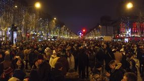 PARIS, FRANCE - DECEMBER, 31, 2016. Overhead shot of crowded multiethnic Champs-Elysees street. New Year`s eve. PARIS, FRANCE - DECEMBER, 31, 2016. Overhead shot stock photography