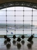 Paris, France, December 12, 2018. Recreation area with comfortable seating and a beautiful view at the airport of Paris Charles de stock images