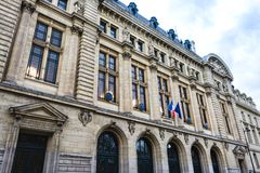 Sorbonne University building in Paris. Paris, France - December 9, 2017: Sorbonne University building in the Latin Quarter, the historical house of the former Royalty Free Stock Photography