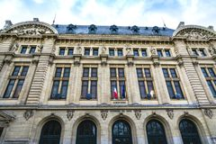 Sorbonne University building in Paris. Paris, France - December 9, 2017: Sorbonne University building in the Latin Quarter, the historical house of the former Stock Photo