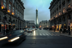 PARIS, FRANCE - DECEMBER 31, 2007: Vendome Square place Vendome at dusk, the Napoleon column can be seen in the background. Stock Image