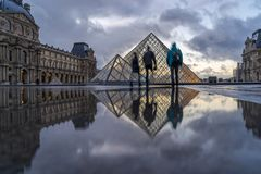 iew of famous Louvre Museum with Louvre Pyramid at evening Stock Image