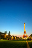 Paris (France) - Eiffel Tower after Sunset. The illuminated Eiffel Tower in Paris (France), right after the sunset Royalty Free Stock Photo