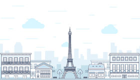 Paris, France with Eiffel tower. Vector Stock Photography
