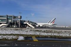 PARIS, FRANCE - 10 février 2018 - aéroport de Paris couvert par la neige Photographie stock