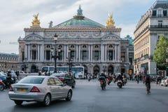 The façade of the Palais Garnier opera house. Famous architecture of Paris. 05.05.2008, Paris, France. The façade of the Palais Garnier opera house royalty free stock photo