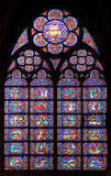 Paris, France - famous Notre Dame cathedral stained glass. Stock Photo