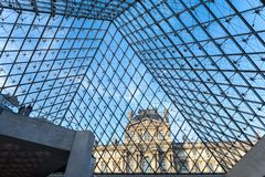 PARIS, FRANCE. Feb 2018: Louvre Museum view from the inside, wit royalty free stock images