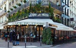 The famous cafe De Flore , Paris, France. Paris France-February 04, 2018 :The cafe De Flore located at the corner of boulevard Saint Germain and rue Saint royalty free stock photos