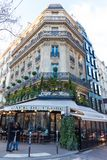The famous cafe De Flore , Paris, France. Paris France-February 04, 2018 :The cafe De Flore located at the corner of boulevard Saint Germain and rue Saint stock image