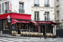 PARIS, FRANCE - FEBRUARY 1, 2017: A cafe with red decoration at Montmartre hill. In Paris, France Royalty Free Stock Image