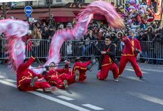 Chinese Dragon Performance - Chinese New Year Parade, Paris 2018 stock images