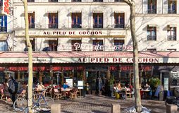 The famous restaurant Au pied du cochon, Paris, France. Paris France-February 10, 2018 2016: The famous restaurant Au pied du cochon located in Les Halles Royalty Free Stock Photography