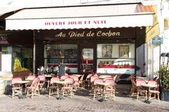 The famous restaurant Au pied du cochon, Paris, France. Paris France-February 10, 2018 2016: The famous restaurant Au pied du cochon located in Les Halles Stock Photo