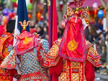 Chinese new year celebrations parade at Paris royalty free stock images