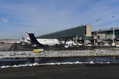 PARIS, FRANCE - FEBRUARY 10 2018 - paris airport covered by snow Royalty Free Stock Photos