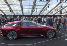 The Concept Cars Exhibition and Automobile Design - Paris 2018. PARIS, FRANCE - FEBRUARY 04, 2018: People enjoying beautiful cars shown in the Concept Cars Stock Photography