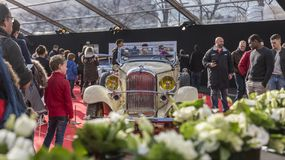 The Concept Cars Exhibition and Automobile Design - Paris 2018. PARIS, FRANCE - FEBRUARY 04, 2018: People enjoying beautiful cars shown in the Concept Cars Stock Photo