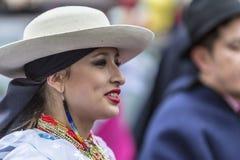 Street Ecuadorian Dancer - Carnaval de Paris 2018. Paris, France - February 11,2018: Portrait of an Ecuadorian female dancer performing in the street during the Stock Image
