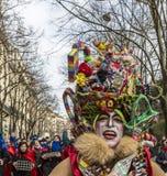Disguised Person - Carnaval de Paris 2018. Paris, France - February 11,2018: Street portrait of a disguised person during the Carnaval de Paris 2018 Royalty Free Stock Image