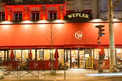 Wepler, the largest oyster house in Paris, located between Montmartre and Pigalle, this brasserie remains a must to. Paris, France-17 February, 2018 : Wepler Stock Photography