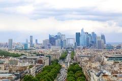 Paris, France 2017: Financial district and The Avenue de la Gran. De Arme. Paris, France. Summer time Stock Photography