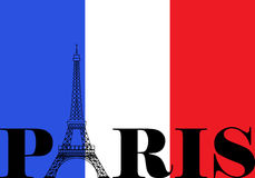 Paris France Flag Silhouette. French flag with Paris and Eiffel Tower silhouette royalty free illustration