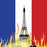 PARIS/FRANCE - fredag 13th November 2015, terrorattacker över Paris Vektor av Eiffeltorn Royaltyfria Foton
