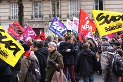 Paris, France. 03.09.2016. A giant demonstration against the socialist government related to a reform of labor law Stock Photos