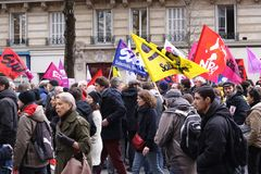 Paris, France. 03.09.2016. A giant demonstration against the socialist government related to a reform of labor law Royalty Free Stock Photo