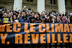 Paris France Global Warming Demonstration. Paris, France, Demonstration Flash Mob of French Environmentalists to Wake up French President Sarkozy of his Royalty Free Stock Photography