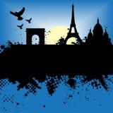 Paris France Grunge City At Ni. Vector - Paris, France Grunge city at night with the Eiffel tower and moonlight stock illustration